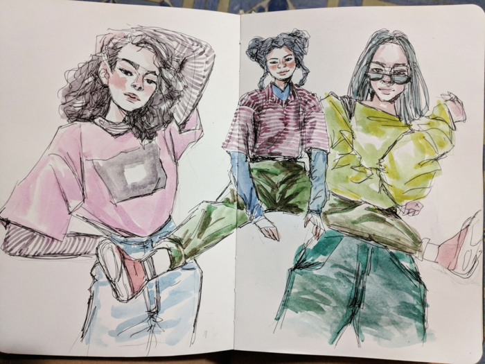 colored drawing of three girls, cute easy drawings, all wearing different fashionable outfits