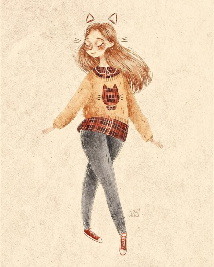 colored drawing of a girl with long hair, wearing jeans and sweater, cute easy drawings, plaid shirt