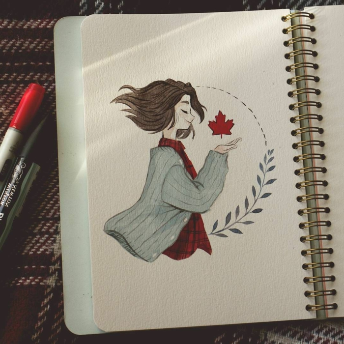 colored drawing of a girl with short hair, wearing plaid shirt and grey cardigan, cool easy drawings, white notebook