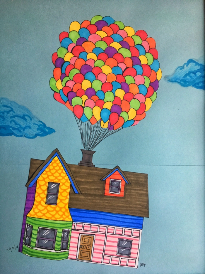 the house from the movie up, carried up by lots of balloons, cool easy drawings, colored drawing with blue background