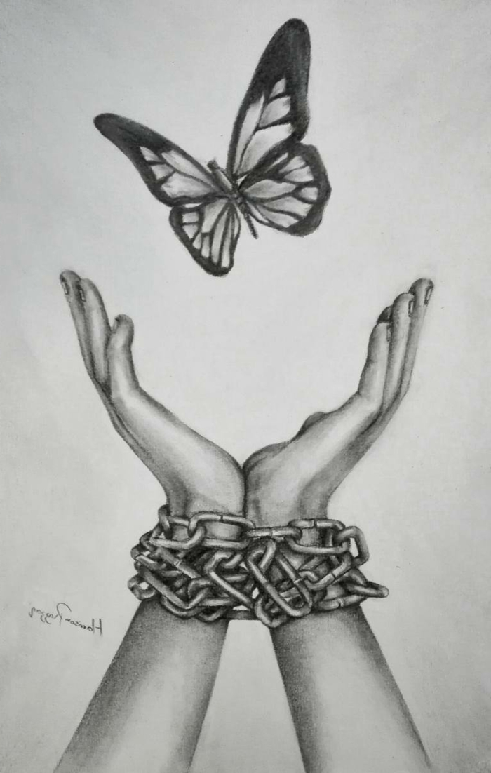 black pencil drawing on white background, cute simple drawings, hands bound by chains, butterfly above them