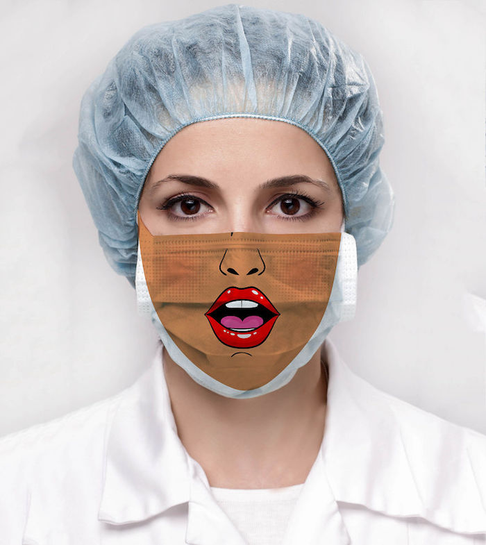 woman with brown eyes, diy breathing mask, wearing mask with lips printed on it, surgical hat