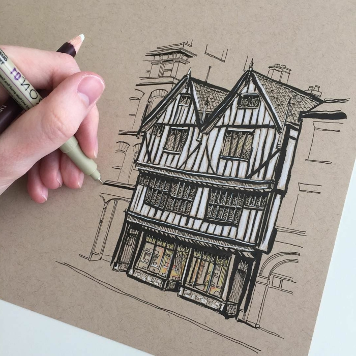 drawing of an old building, black pencil drawing on white background, cute simple drawings, old architecture