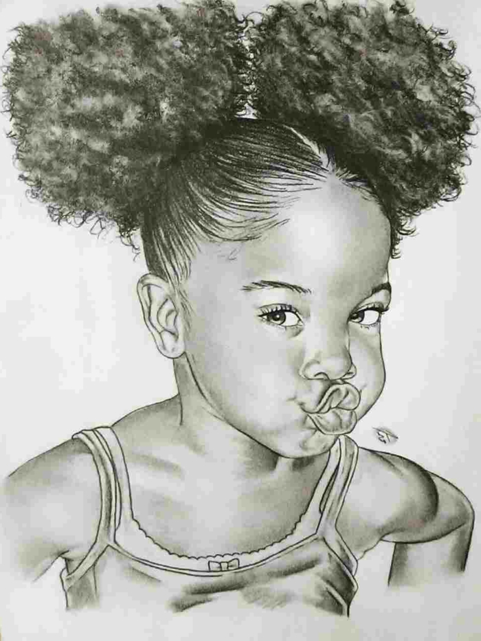 drawing of a girl with curly hair in two ponytails, cute simple drawings, black pencill drawing on white background