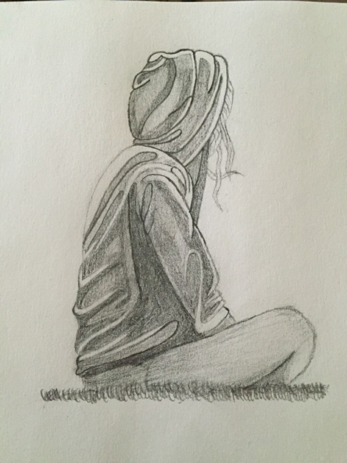 girl sitting down, wearing a hoodie, black pencil sketch on white background, cute simple drawings
