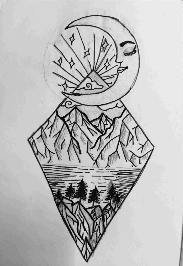 mountain landscape with lake, under a crescent moon, beginner drawing ideas, black pencil drawing on white background