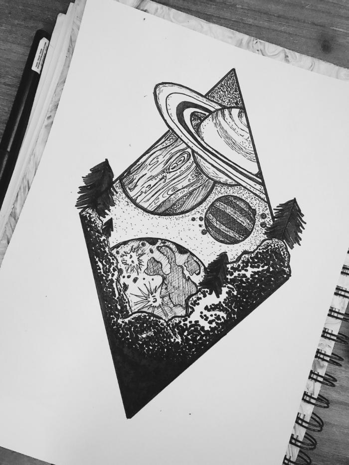 mountain landscape, planets over it, beginner drawing ideas, black pencil drawing on white background
