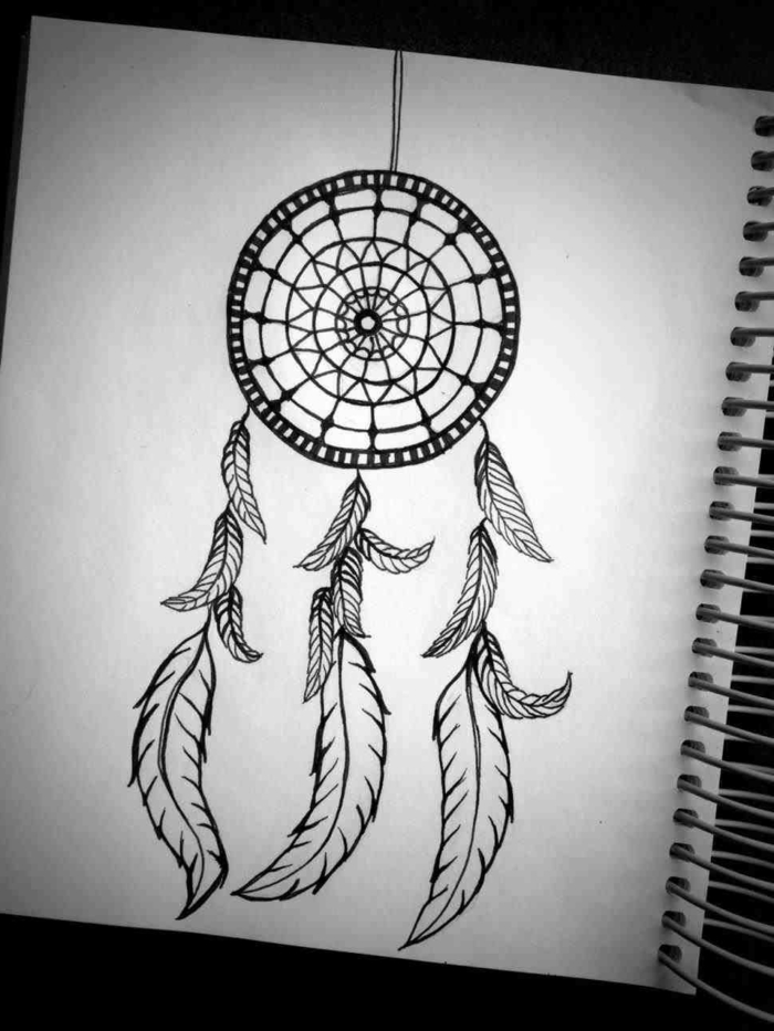 drawing of a dreamcatcher with feathers, black pencil drawing on white background, beginner drawing ideas