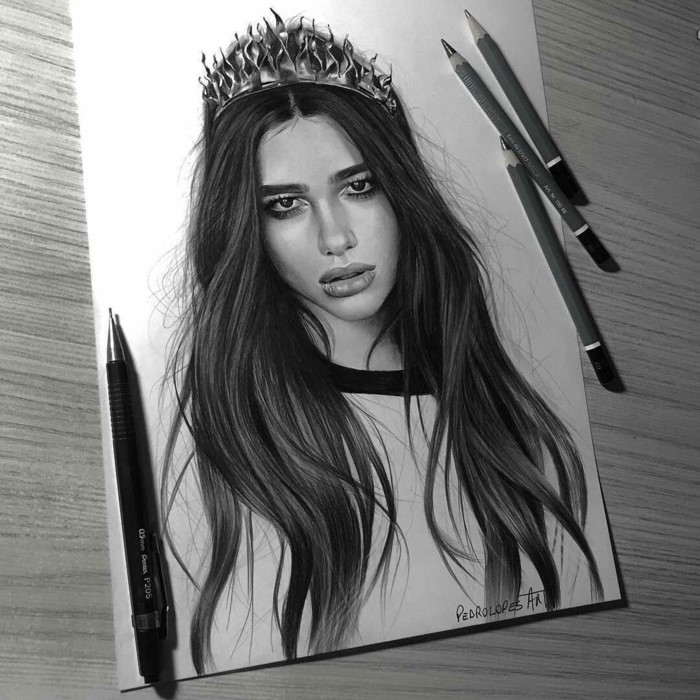 dua lipa, realistic portrait drawing, beginner drawing ideas, black pencil sketch on white background