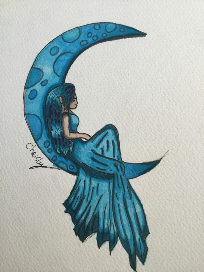 blue pencil drawing on white background, how to draw cute things, fairy sitting on a crescent moon