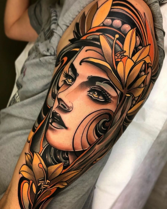 female face, surrounded by flowers, neo traditional tattoo, arm sleeve tattoo, floral crown