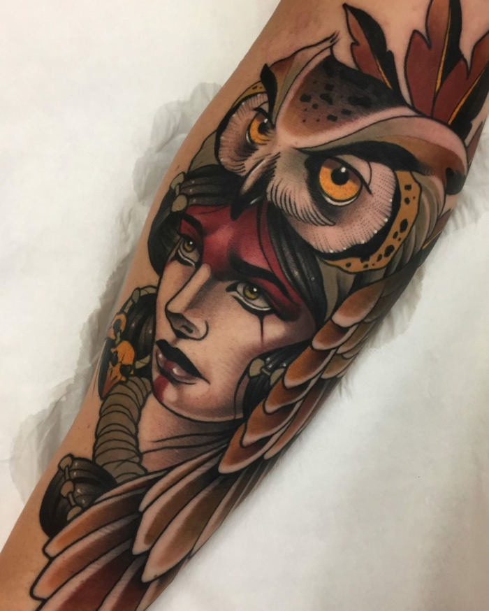 forearm tattoo, woman with black hair, owl on her head, traditional tattoo ideas, whie background