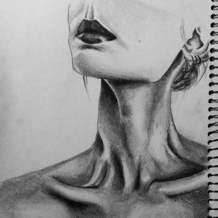 drawing of a female neck with large collarbones, black pencil drawing on white background, how to draw cute things