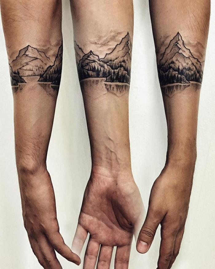 small mountain tattoo, forearm tattoo, lake surrounded by trees, mountain range, white background