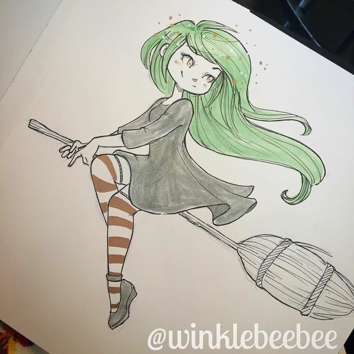 how to draw cute things, girl with gree hair riding a broomstick, wearing black dress and long stockings