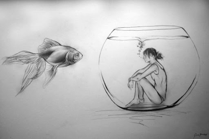 girl inside of a fish tank, fish next to it, how to draw cute things, black pencil drawing on white background