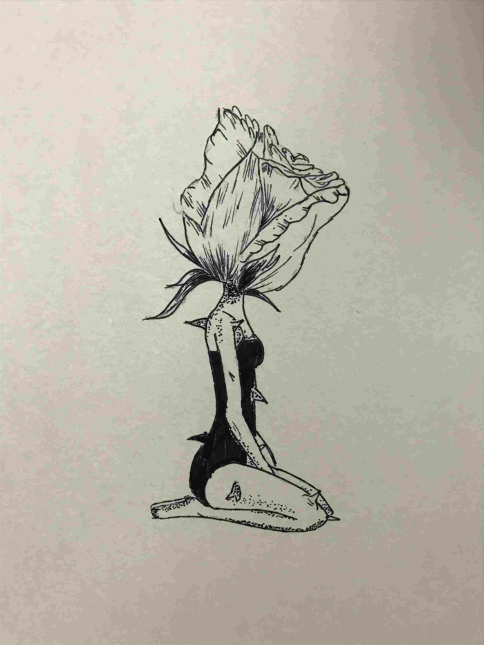 sketch drawing ideas, girl sitting down, rose for a head, black pencil drawing on white background, thorns on her body