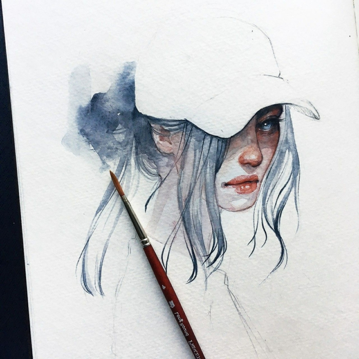 watercolor drawing, sketch drawing ideas, girl with blue hair and eyes, wearing a white cap