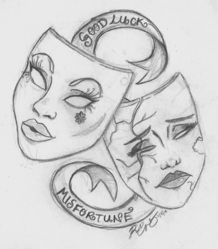 good luck and misfortune, written next to two female masks, sketch drawing ideas, black pencil sketch on white background