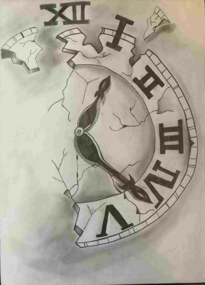 half of a clock with roman numerals, sketch drawing ideas, black pencil sketch on white background