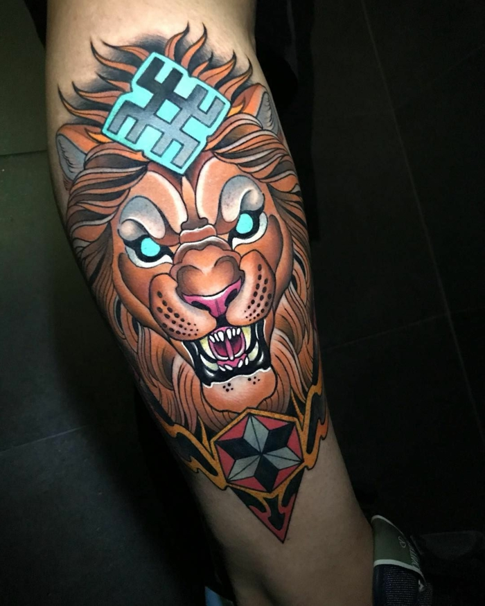 roaring lion head with blue eyes, neo traditional animal tattoo, leg tattoo, black background