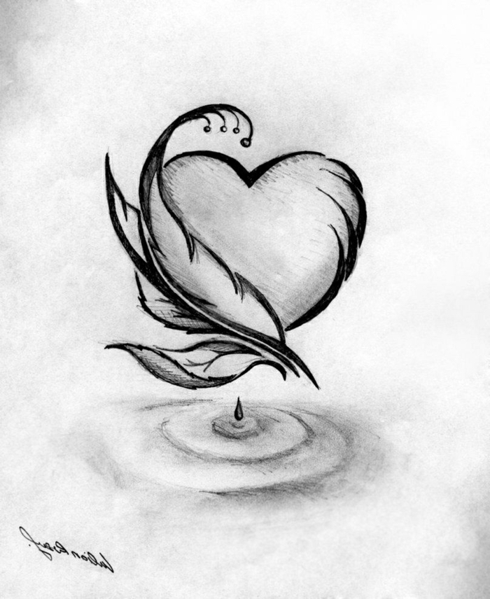 heart with feathers on the side, black pencil sketch on white background, how to draw easy