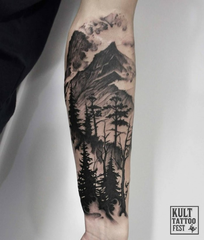 mountain range with fog and trees, hiking tattoos, forearm tattoo, white background