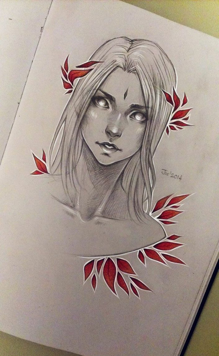 drawing of a woman with long hair, surrounded by red leaves, how to draw easy, black and red pencil sketch