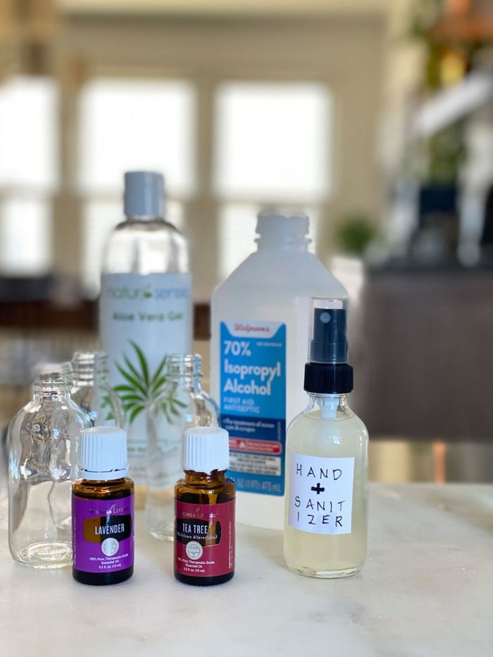 bottle of alcohol and aloe vera gel, diy hand sanitizer, tea tree and lavender essential oil