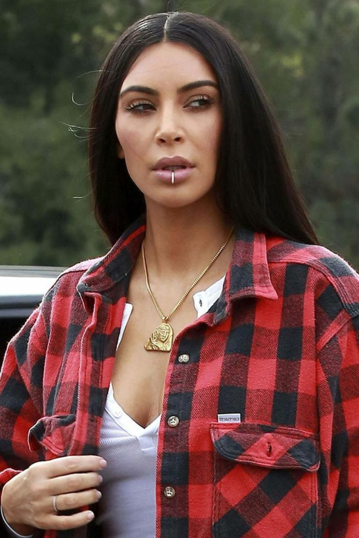 kim kardashian, wearing red plaid shirt and white top, types of lip piercings, golden necklace