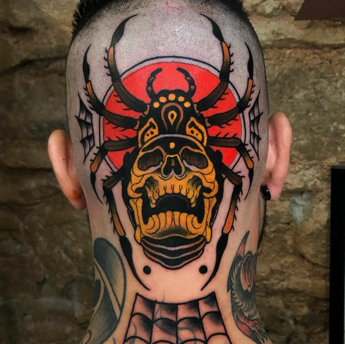 large spider and skull on red background, back of head tattoo, neo traditional rose tattoo, man with lots of tattoos