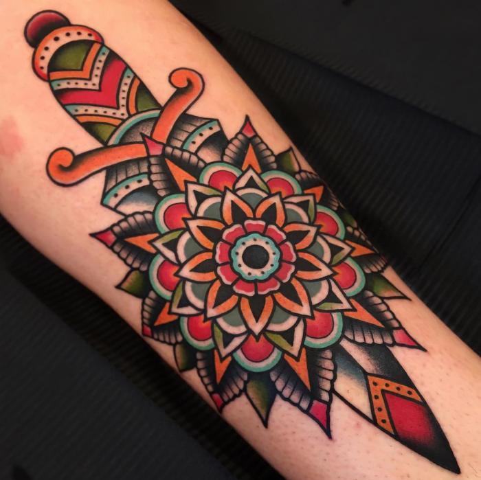 mandala tattoo, neo traditional rose tattoo, dagger with mandala flower, forearm tattoo