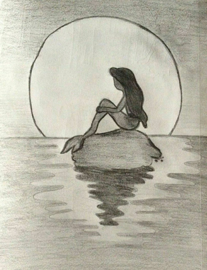 meramaid sitting on a rock, in the middle of the sea, black pencil sketch, aesthetic things to draw, large moon background