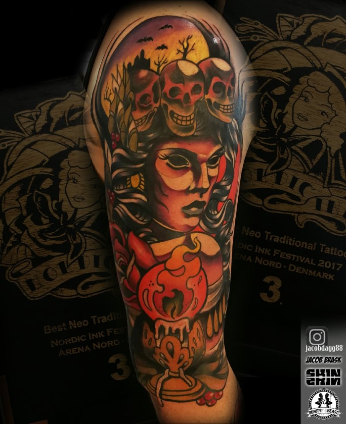 arm sleeve tattoo, neo traditional sleeve, woman with black hair, surrounded by skulls