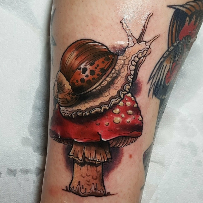 snail on a mushroom, back of leg tattoo, neo traditional sleeve, white background