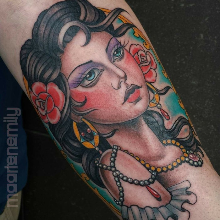 woman with black hair with red flower in it, neo traditional sleeve, gypsy woman, forearm tattoo