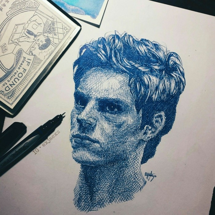 drawing of a man, made with blue and black pens, aesthetic things to draw, white background