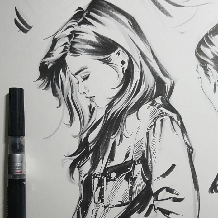 easy things to draw for beginners, profile of a woman with long hair, wearing a jacket, black pencil sketch on white background