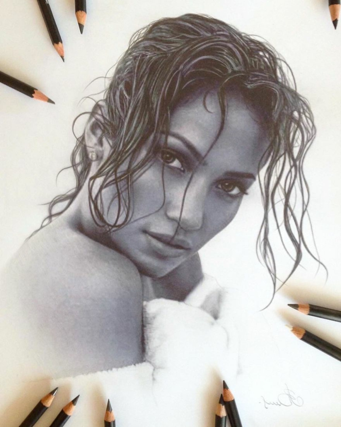 realistic portrait of jennifer lopez, easy things to draw for beginners, black pencil sketch on white background
