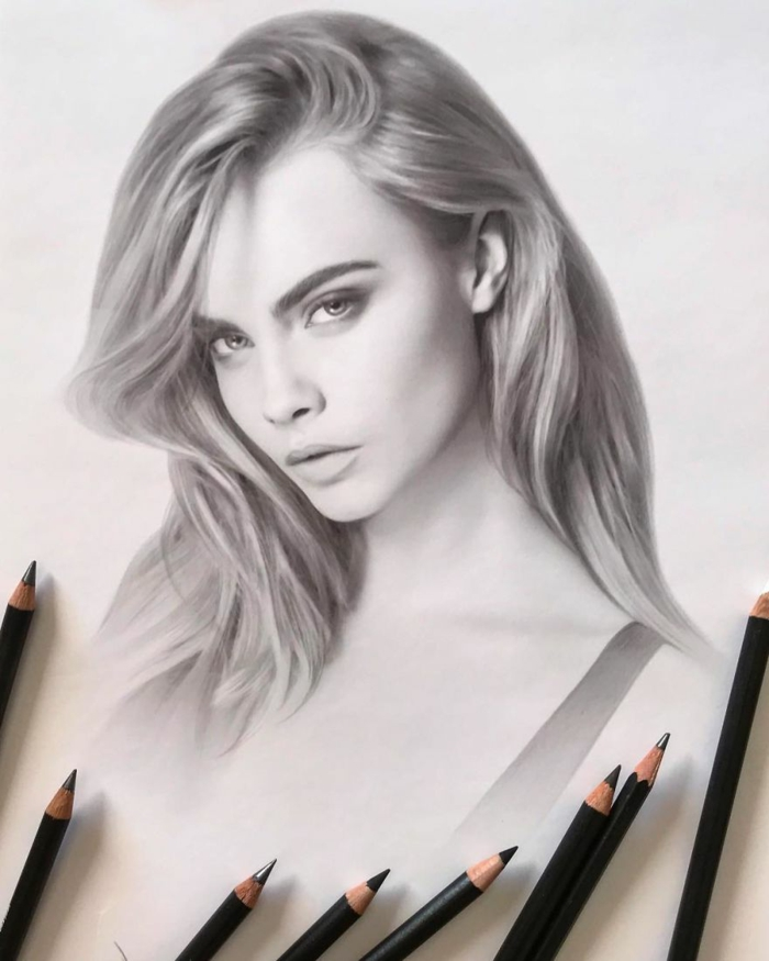 realistic portrait of cara delevingne, easy things to draw for beginners, black pencil sketch on white background