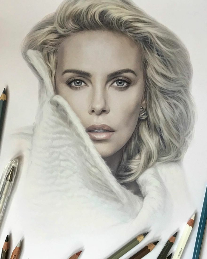 colored pencil sketch on white background, realistic portrait of charlize theron, easy things to draw for beginners