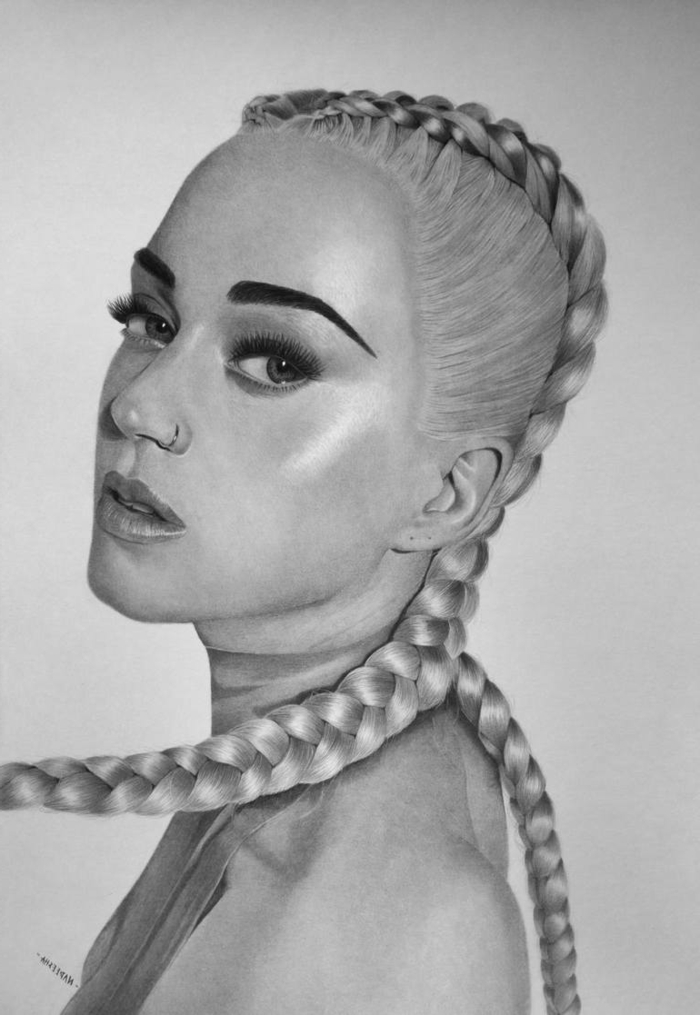 black pencil sketch on white background, easy things to draw for beginners, realistic drawing of katy perry