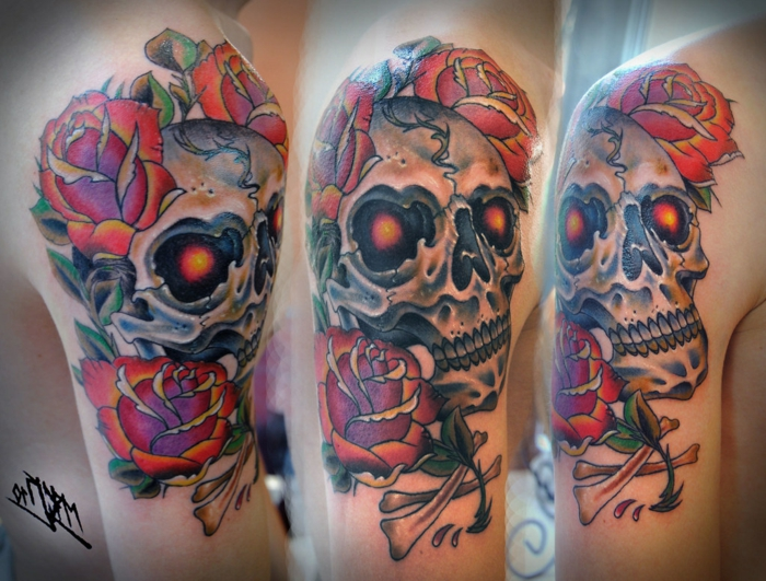 three side by side photos, neo traditional tattoo sleeve, skull surrounded by red roses, arm tattoo