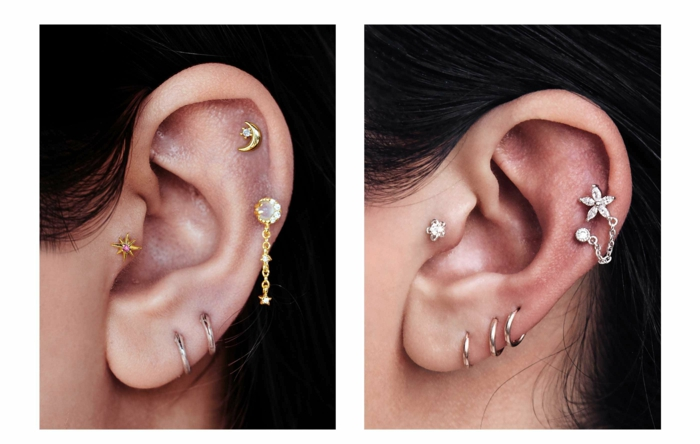 side by side photos, close up photos of ears, wearing different earrings, stud cartilage piercing, woman with black hair