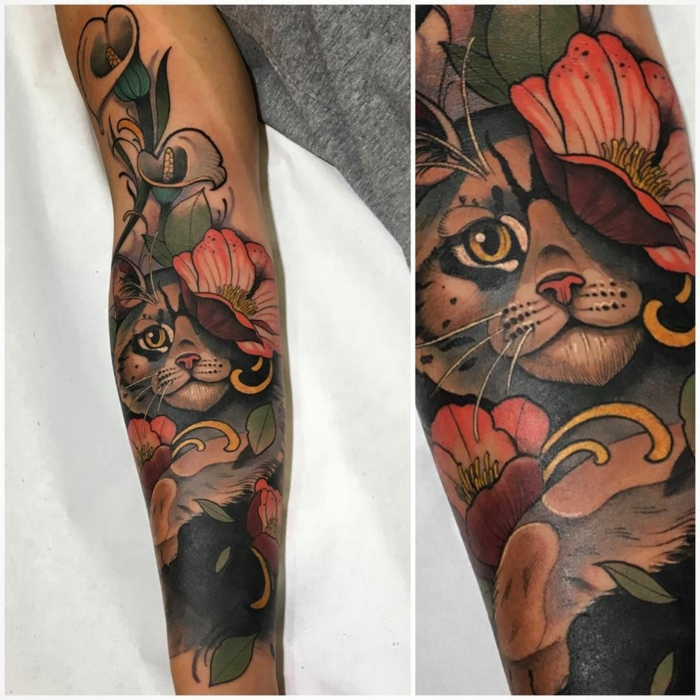 side by side photos, arm tattoo, neo traditional tattoo sleeve, cat surrounded by flowers