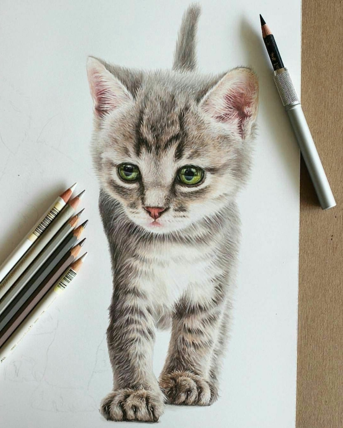realistic drawing of a kitten with green eyes, things to doodle, white background