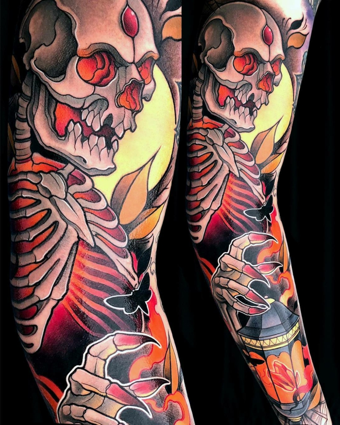 side by side hotos, arm sleeve tattoo, what is a neo traditional tattoo, skull holding a lantern