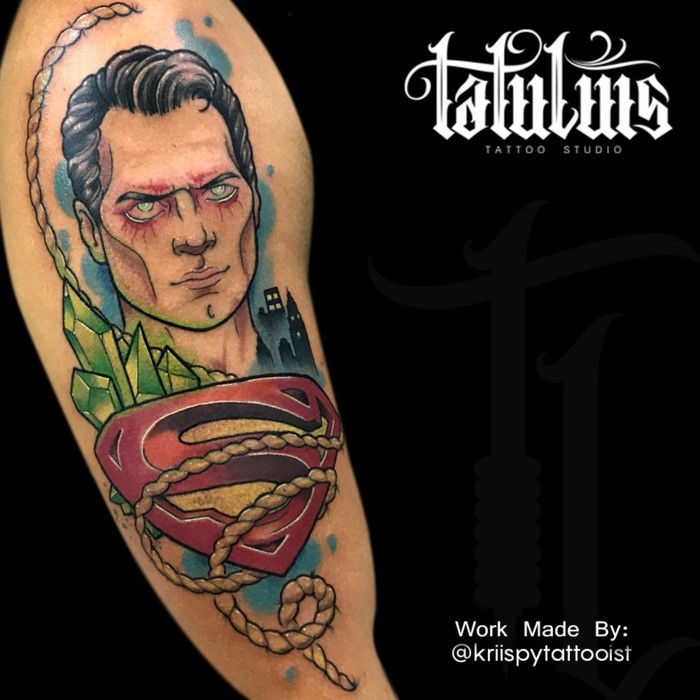superman with his logo, cryptonite next to him, traditional woman tattoo, arm tattoo, black background