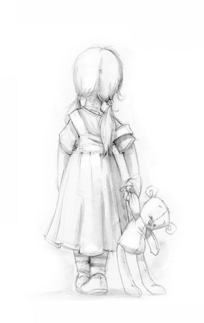 little girl with hair in two ponytails, carrying a plush teddy bear toy, things to doodle, black pencil sketch