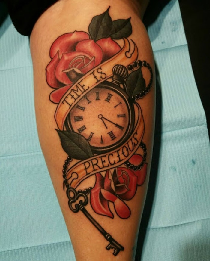 time is precious, written over a pocketwatch, surrounded by red roses, traditional forearm tattoo, leg tattoo